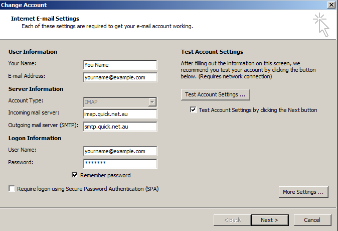 Outlook 2010 Email Account Settings